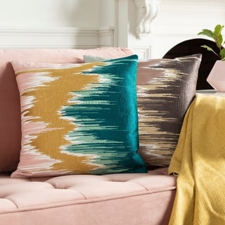 Lena Modern Hand-Embroidered 22-in Poly or Feather Down Throw Pillow