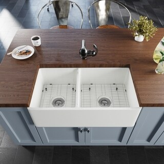 R10-3003 Double Bowl Fireclay Apron Front Sink with Grid and Basket Strainer