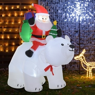 Link to 6' Christmas Holiday Yard Moving Inflatable Outdoor Light Up LED Airblown Decoration- Santa Claus and Polar Bear Similar Items in Christmas Decorations