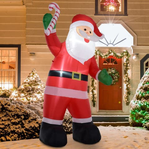 8' H Christmas Holiday Yard Inflatable Outdoor Light Up LED Airblown Decoration- Smiling Santa with Candy Cane
