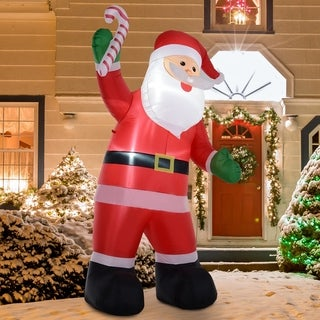 Link to 8' H Christmas Holiday Yard Inflatable Outdoor Light Up LED Airblown Decoration- Smiling Santa with Candy Cane Similar Items in Christmas Decorations
