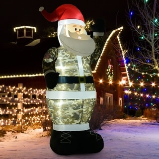8' H Christmas Holiday Yard Inflatable Outdoor Light Up LED Airblown Decoration- Military Camo Santa Claus