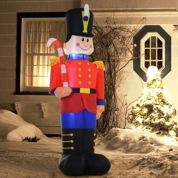 6' Christmas Holiday Yard Inflatable Outdoor Light Up LED Airblown Christmas Decoration- Toy Soldier Nutcracker. Opens flyout.