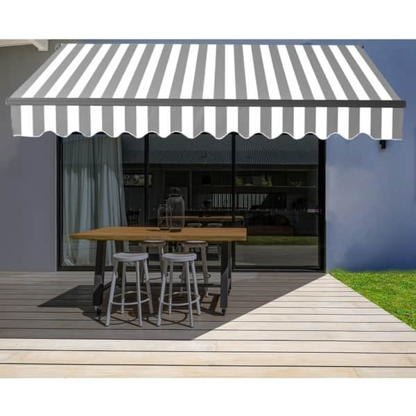 Aleko Black Frame Retractable Home Patio Canopy Awning 12 X 10 Ft Grey White Overstock 29845170