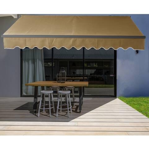 ALEKO Motorized 20'x10' Black Frame Retractable Home Patio Canopy Awning Sand