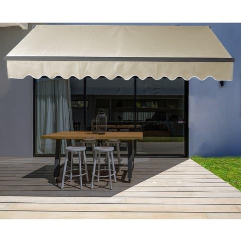 ALEKO Motorized 16'x10' Black Frame Retractable Home Patio Canopy Awning Ivory