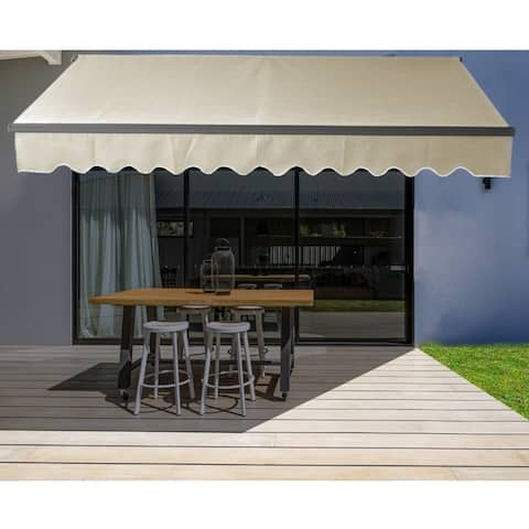 ALEKO Motorized 20'x10' Black Frame Retractable Home Patio Canopy Awning Ivory