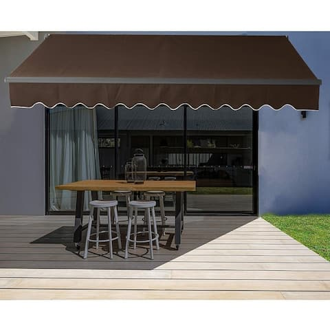 ALEKO Motorized 20'x10' Black Frame Retractable Home Patio Canopy Awning Brown