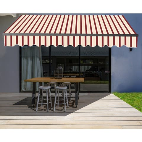 ALEKO Motorized 20'x10' Black Frame Retractable Home Patio Canopy Awning Multi Red