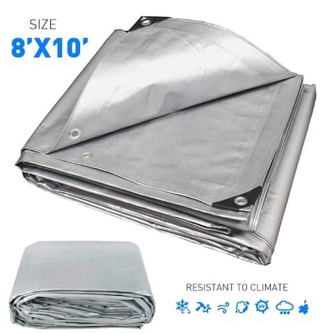 8'x10' Silver Tarp Hercules Tent Shelter Cover Waterproof Tarpaulin