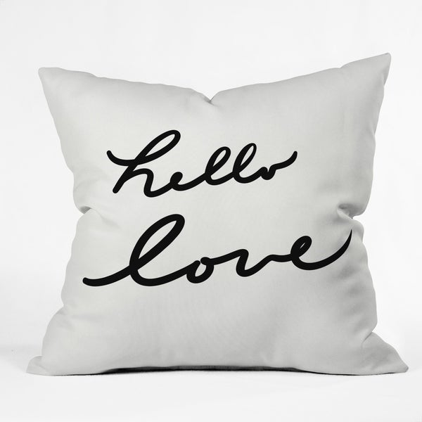Deny Designs Hello Love on White Reversible Throw Pillow (4 Size Options)