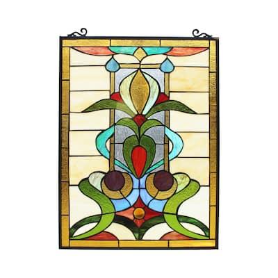 Gracewood Hollow Nzuji Floral Stained Glass Window Panel Suncatcher