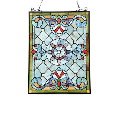Gracewood Hollow Abo Victorian Geometric Stained Glass Window Panel Suncatcher