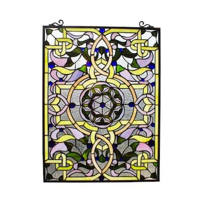 Gracewood Hollow Landu Victorian-style Stained Glass Window Panel Suncatcher