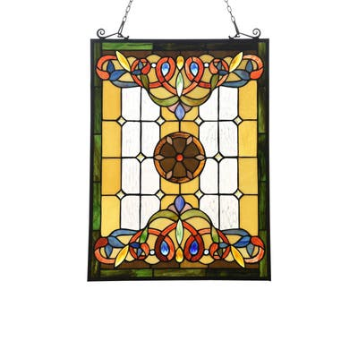Gracewood Hollow Taboye Victorian Stained Glass Window Panel Suncatcher