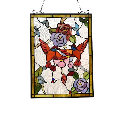 Gracewood Hollow Bambote Floral Stained Glass Window Panel Suncatcher
