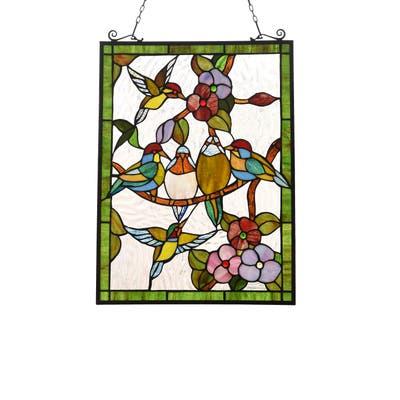 Gracewood Hollow Djehoya Floral Stained Glass Window Panel Suncatcher