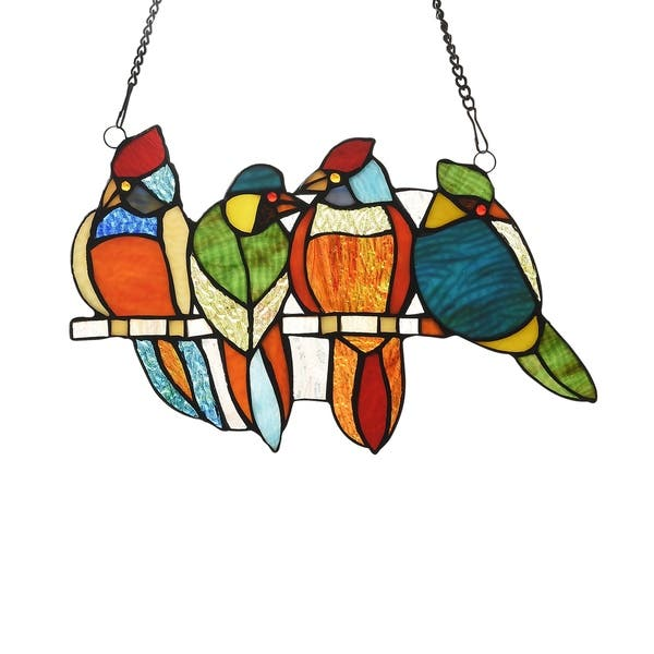 Shop Gracewood Hollow Deffalah 65 Piece Stained Glass Birds Window Suncatcher On Sale Overstock 29845914