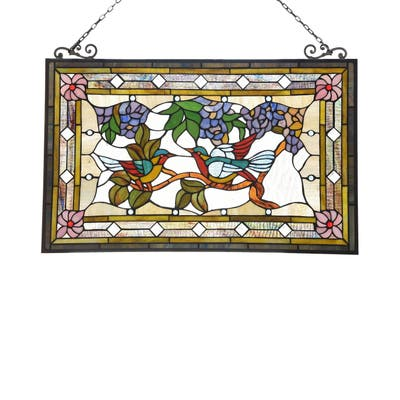 Gracewood Hollow Lamko Floral Stained Glass Window Panel Suncatcher