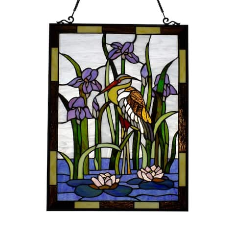 Gracewood Hollow Mukabala Birds/Flowers Stained Glass Window Panel Suncatcher