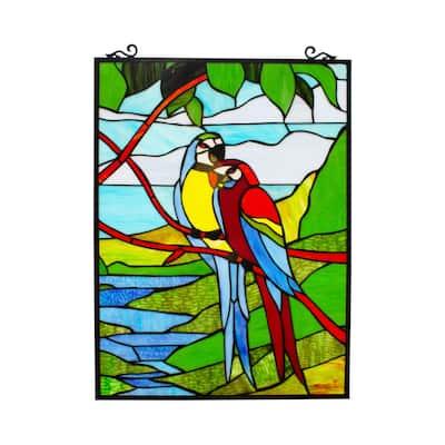 Gracewood Hollow Mpaang Tropical Birds Stained Glass Window Panel Suncatcher