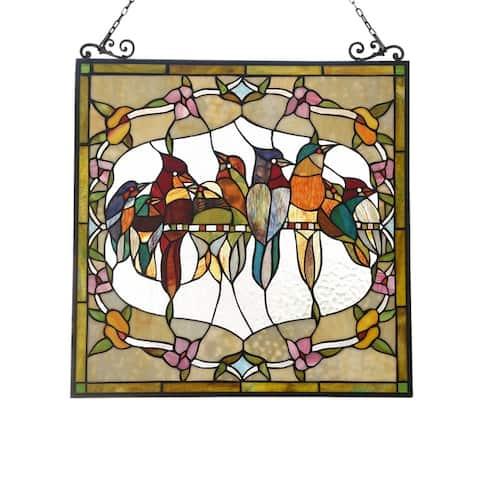 Gracewood Hollow Deffalah Stained Glass Bird/Flower Window Panel Suncatcher