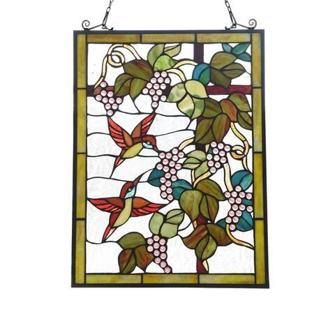 Gracewood Hollow Koundja Floral Stained Glass Window Panel Suncatcher