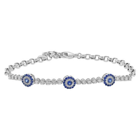 14k White Gold 1 1/3 ct. Diamonds and Blue Sapphire Evil Eye Bracelet by Beverly Hills Charm