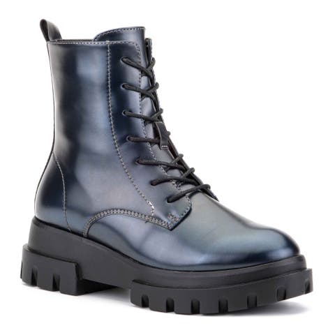 Olivia Miller 'Exhale' High Shine Combat Boots