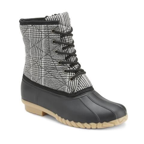 Olivia Miller Dont Walk Away Plaid Duck Boots