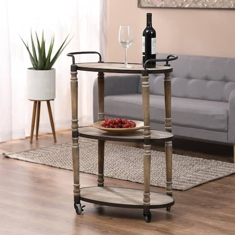 The Gray Barn Old Rectory Mobile Metal and Wood Storage Cart