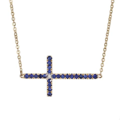 14K Yellow Gold 3/8ct. Blue Sapphire and Diamond Sideway Cross Necklace by Beverly Hills Charm