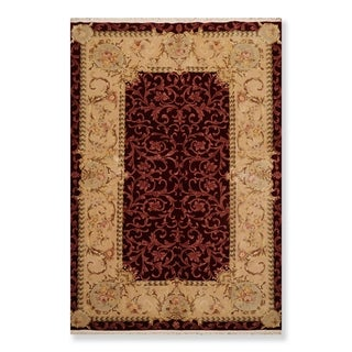 "Hand Knotted 250 KPSI French Aubusson Wool & Silk Oriental Area Rug (5'9""x8'10"") - 5'9"" x 8'10"""