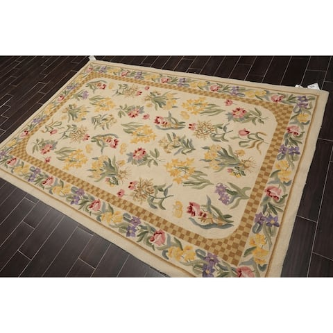 """Nourison Hand Hooked Wool Floral Oriental Area Rug (5'6""""x8'6"""") - 5'6"""" x 8'6"""""""
