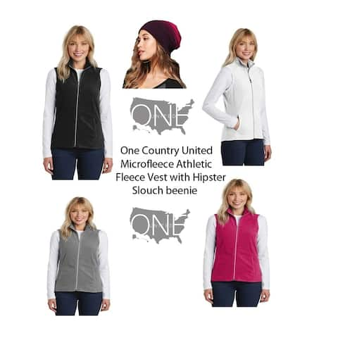 One Country United Microfleece Athletic Fleece Vest/Slouch Beanie