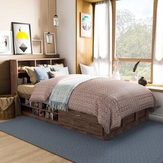 Roman Modern Walnut Finish Multi-Storage Platform Bed