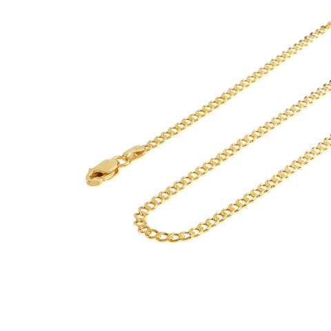 14KT Yellow Gold Cuban Curb Chain Necklace / Choker for Men and Women