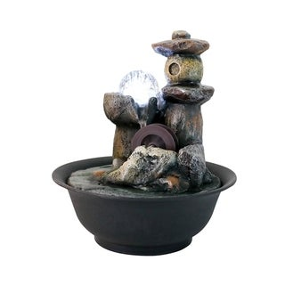 Rock Cascading Tabletop Fountain Waterfall Feature with LED Light