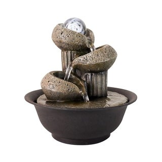 Tabletop Fountain with LED Lights - 3-Step Indoor Waterfall Feature