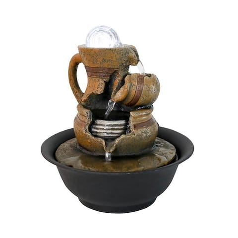 Tabletop Water Fountains with LED Rolling Ball for Home Office