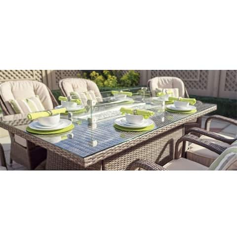 7 Piece Patio Wicker Gas Fire Pit Set Rectangular Table with Six Arm Chairs by Direct Wicker