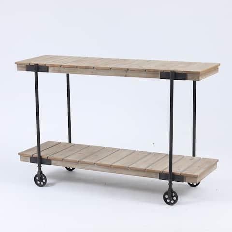 Wood Two-Tier Shelf Storage Cart