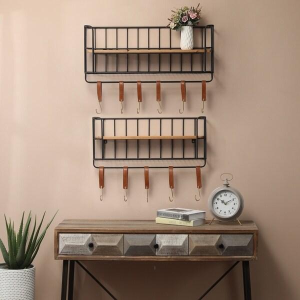 2-Piece Wood and Metal Wall Shelf