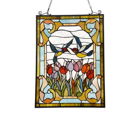 Gracewood Hollow Goyemide Floral Stained Glass Window Panel Suncatcher