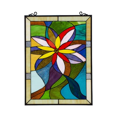 Gracewood Hollow Mudimbe Floral Stained Glass Window Panel Suncatcher