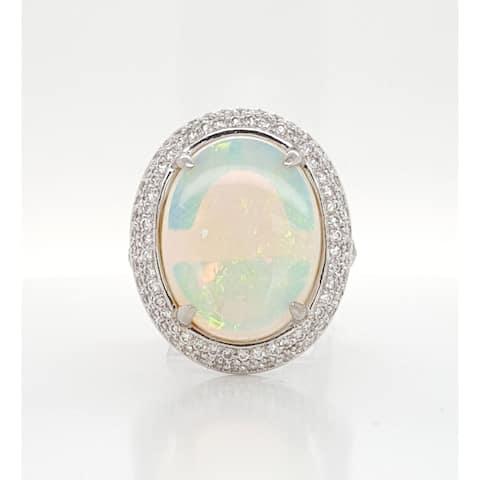 Kabella White Gold Opal Pave Diamond Around Ring Size - 6.5