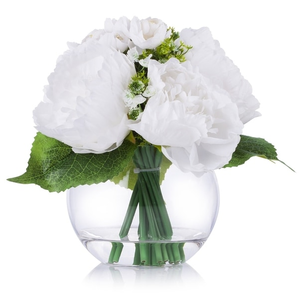 Enova Home White Artificial Mixed Peony Flower Arrangement in Clear Glass Vase With Faux Water For Home Decoration - N/A