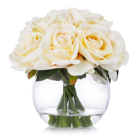 Enova Home 10 Heads Rose Silk Flower Arrangement in Round Clear Glass Vase with Faux Water For Home Wedding Decoration