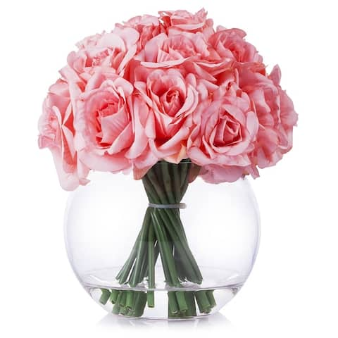 Enova Home Artificial 21 Heads Silk Roses Fake Flowers Arrangement in Round Clear Glass Vase with Faux Water for Home Decoration
