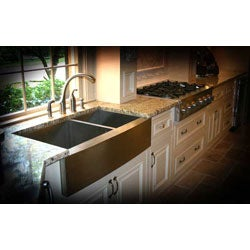 36-inch Stainless Steel Double-bowl Farmhouse Sink - Thumbnail 1